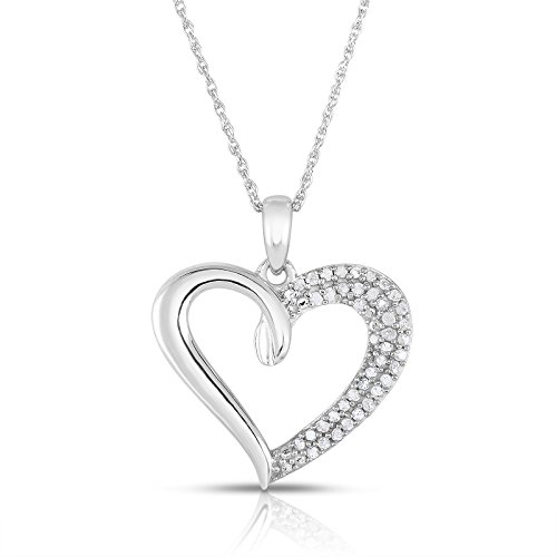 - NATALIA DRAKE 1/4 Carat Weight - Genuine Diamond Heart Pendant in Sterling Silver