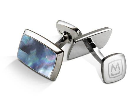 M-CLIP GRAY MOTHER OF PEARL RECTANGLE CUFF LINKS