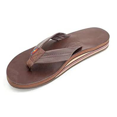 Rainbow Sandals Men's 2 Tone Leather Double Stack, Classic Mocha, Small (7.5-8.5)