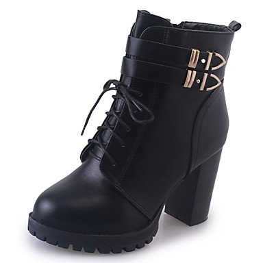 RTRY Women'S Shoes Pu Fall Winter Comfort Combat Boots Boots Block Heel Pointed Toe Mid-Calf Boots Lace-Up For Casual Black US6.5-7 / EU37 / UK4.5-5 / CN37 uC4kRv0h