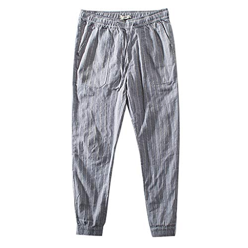 - VEZAD Men Loose Linen Striped Pants Summer Casual Harem Jogger Fitness Trousers