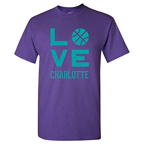 Charlotte Love Basketball - Sports Team Hometown City Pride T Shirt - X-Large - Purple