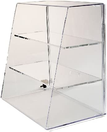 Acrylic Display Case 16 H x 16 W x 10 Locking Display Case with 2 Shelves Countertop Case with Angled Front and Slide-Up Back Door – ACAS162