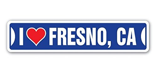 I LOVE FRESNO, CALIFORNIA Street Sign Ca City State Us Wall Road DÃcor Gift - 22'' Long Sticker Graphic - Auto, Wall, Laptop, Cell - Street Fresno Ca Fresno