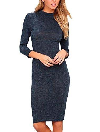 Kleider Damen Festlich Elegant 3/4 Ärmel Rundhals Slim Fit Paket Hüfte Kurz Bleistiftkleid Vintage Mode Minikleid Blusenkleid Cocktailkleid Dunkelblau CFipUWQHlL
