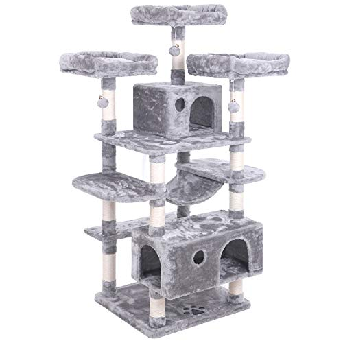 Cat Stand - BEWISHOME Large Cat Tree Condo with Sisal Scratching Posts Perches Houses Hammock, Cat Tower Furniture Kitty Activity Center Kitten Play House Light Grey MMJ03G