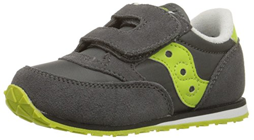 Saucony Jazz Hook & Loop Sneaker (Toddler/Little Kid), Grey/Citron, 7 M US Toddler (Saucony Grid Youth)