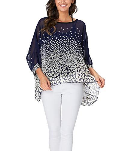 - Wiwish Women's Bohemian Style Batwing Sleeve Butterfly Printed Chiffon Caftan Poncho Tunic Top Beach Loose Shirt