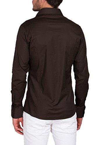 Modelo Marrón Larga Fit Para Estándar Camisa Hombre Manga Bodas Libre Trajes Slim Tiempo wAgU4q