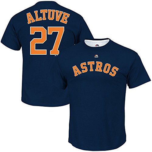 Majestic Athletic Men's Jose Altuve Navy Houston Astros #27 Player Name and Number T-Shirt (2XL)