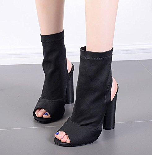 Sandale Peep Toe Schwarz Aisun Pumps Fersenfrei High Damen Heels Blockabsatz Sexy Etwq4zfwR
