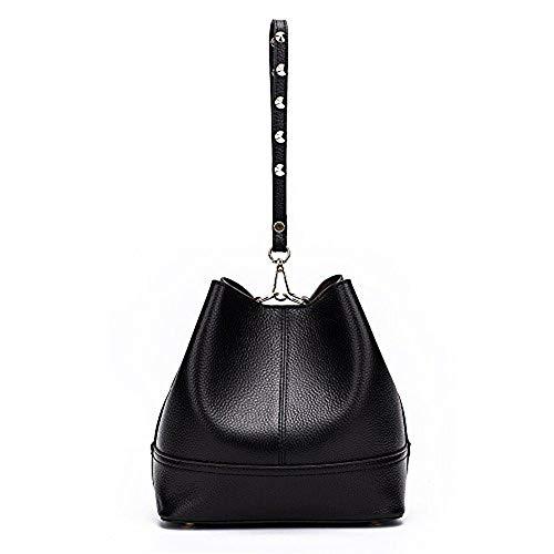 Versatile Leather Crossboy Bag Size Bag black Black Genuine Casual Women bag Bucket Shoulder Medium for q0Z55wE