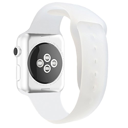 Chumei Sporty Band Compatible with Apple Watch, Soft Silicone Replacement Wristband Strap Band for iWatch Series 1 Series 2 Series 3 Series 4 (42MM/44MM M/L Matte White Clear)
