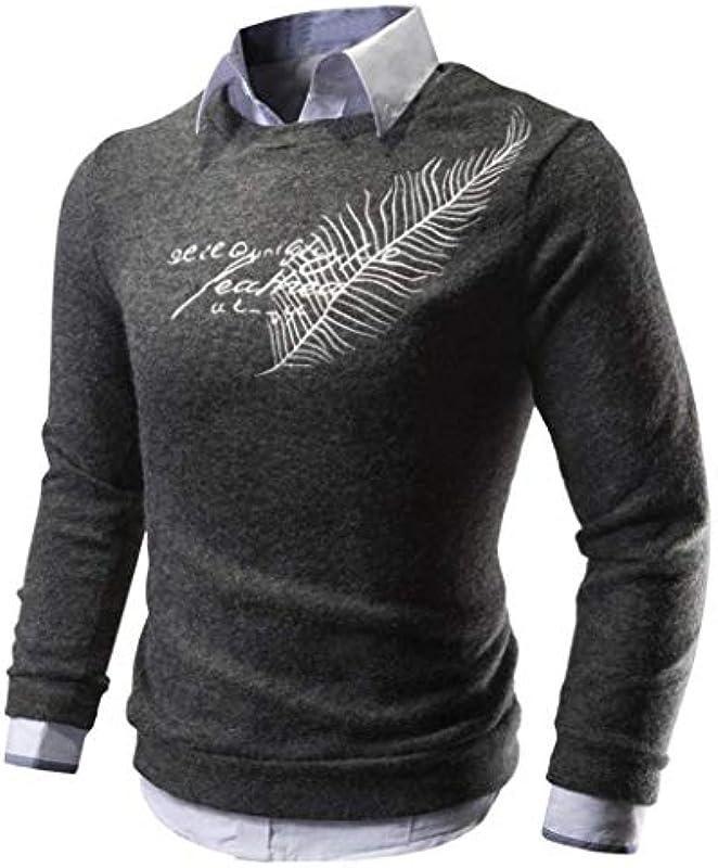 Męski sweter z dzianiny jesień zima elegancki pulower z dzianiny długi rękaw z długim rękawem prosty styl nadruk Slim Fit sweter sweter: Odzież