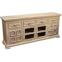 Crafters & Weavers Rustic Solid Wood 73 Inch Whitewashed TV Stand Media Console Sideboard Cabinet