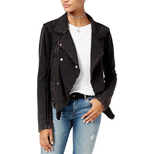 American Rag Womens Juniors Knit Notch Collar Motorcycle Jacket Black M