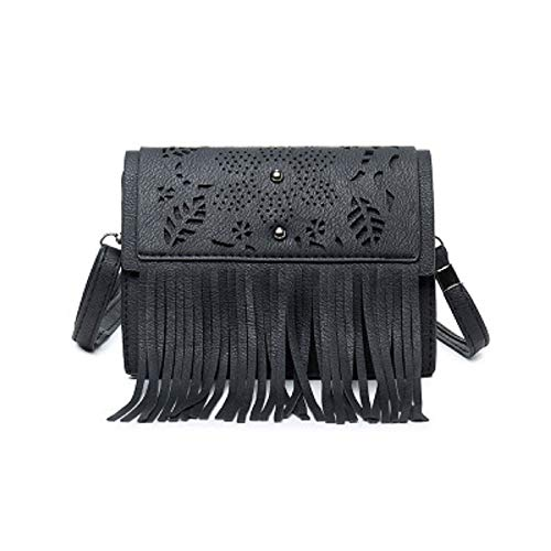 Retro Grigio Hhgold colore Women Style Tassel Laptop Nero Bag Hollow Design Sloung Originale RwIPpw