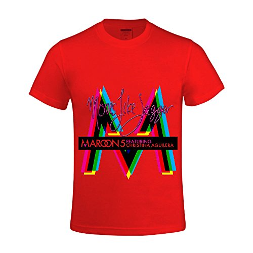 [Maroon 5 Moves Like Jagger 1 Men T Shirts Crew Neck Sport Red] (Mens Disco Jumpsuit)