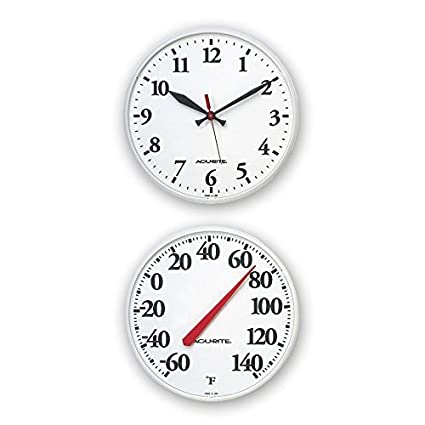 Charmant AcuRite Outdoor White Clock And Thermometer Combo Set