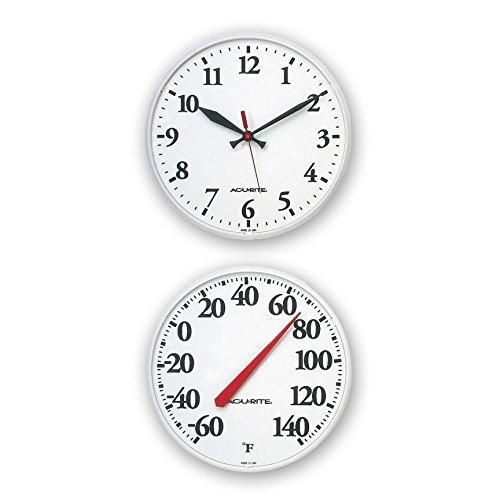 Outdoor White Clock Thermometer Combo