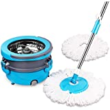 Spin Mop Easy Wring Cleaning System, CXhome 360 Spin Mop Stainless Steel with Bucket, Wet Dry Mop with 2 Washable Microfiber Mop Head