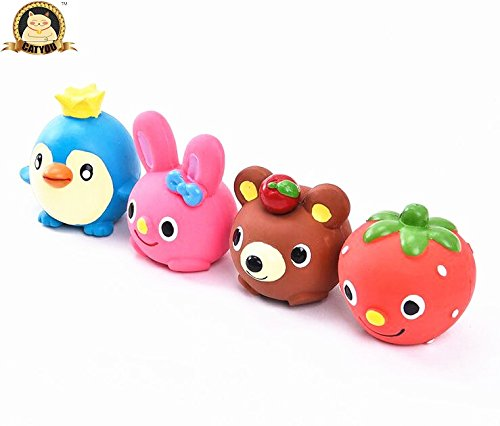 CatYou 4PCS Safe Latex Dog Squeaky Toys, Small Chew Molar Dog Toys, 2.3-Inch Tall, for Puppy Small Medium Dogs Review