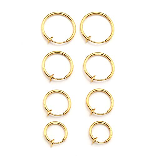 PiercingJ 8pcs Mixed Size Stainless Steel 14G Fake Nose Ring Spring Hoop, Clip On Earrings Fake Septum Cartilage Earrings Lip Ring Non Piercing Hoop Faux Body Piercing Jewelry 10-16mm