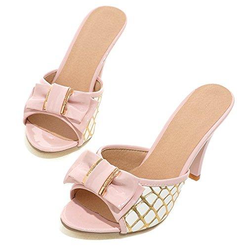 Haut Pink Peep Bowknot Femmes Mules à Toe Talon TAOFFEN q748ax0w