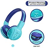 Wireless Kids Headphones with Volume Limited, Kids Headphones Bluetooth for Hearing Protection, Kids Headsets Wireless, Over-Ear Kids Headphones Bluetooth and Wired for Girls,Boys,Teens,Adults (Mint)