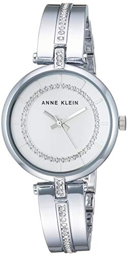 (Anne Klein Women's AK/3249SVSV Swarovski Crystal Accented Silver-Tone Bangle Watch)