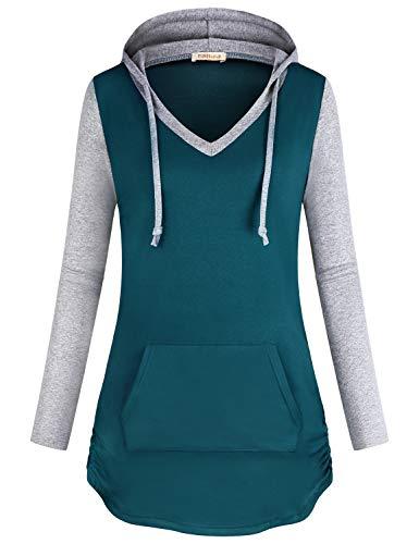 Kangaroo Tie - Baikea Lightweight Hoodie, Female Notch V Neck Long Sleeve Sweatshirts for Women Drawstring Tie Kangaroo Pocket Fall Clothes Knit Patchwork Cozy Essential Tops Dark Cyan XXL
