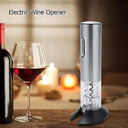 Qinlorgon 【Venta del día de la Madre】 Abrebotellas eléctrico para Vino, práctico USB Recargable automático de Acero Inoxidable Abrebotellas eléctrico para Vino Sacacorchos + Cortador de Aluminio