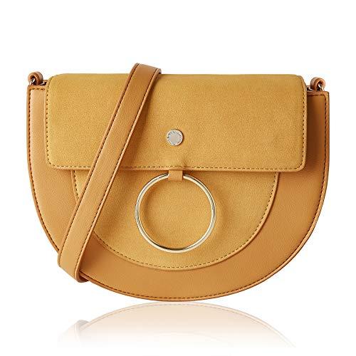 (The Lovely Tote Co. Women's Hasp Crossbody Bag Saddle Bag Shoulder Satchel,One,Mustard)