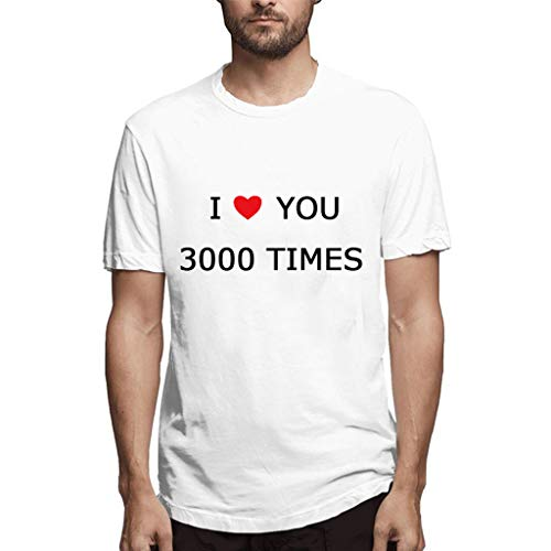 Men's T-Shirts I Love You 3000 Printed Casual Round Neck Short Sleeve Top Blouse Tee for Couple