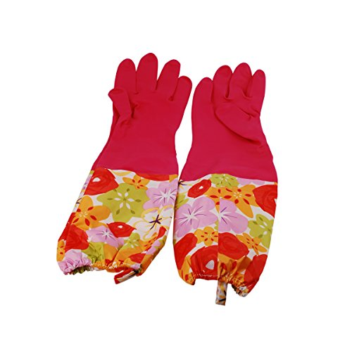 Mackertop Rubber Kitchen Latex Gloves Waterproof Cleaning Gloves with Lining, Dish Washing Laundry House Cleaning Gloves (Red)