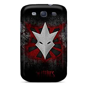 Shock-Absorbing Hard Phone Cover For Samsung Galaxy S3 (iMH3858zEme) Unique Design Stylish In Flames Band Pattern