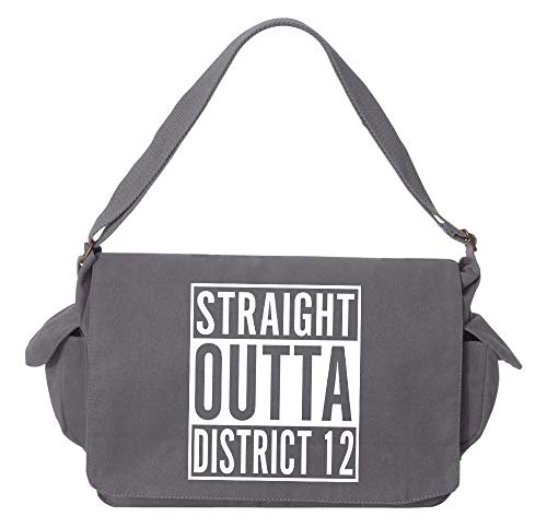 (Tenacitee Straight Outta District 12 Grey Brushed Canvas Messenger)
