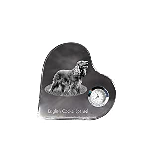 English Cocker Spaniel, Heart Shaped Crystal Clock with an Image of a Dog 12