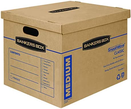 Bankers Box SmoothMove Classic Moving Boxes Tape-Free Assembly Easy Carry Handles Medium 18 x 15 x 14 Inches 10 Pack (7717204)