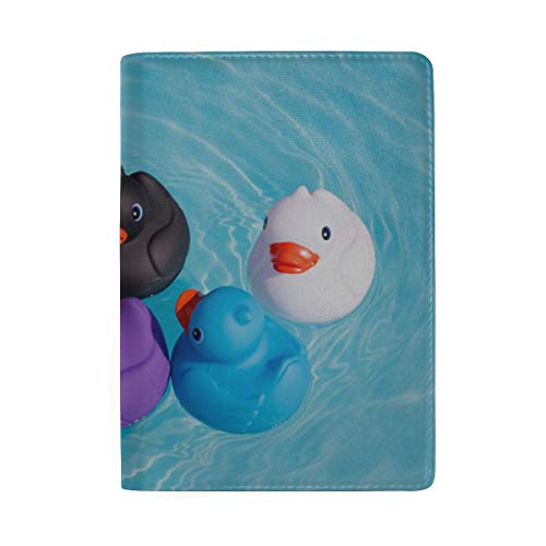 Price comparison product image Difference Rubber Ducks Manage To Line Up Blocking Print Passport Holder Cover Case Travel Luggage Passport Wallet Card Holder Made With Leather For Men Women Kids Family