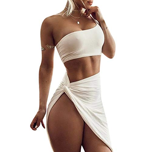 (UPSTONE Women's Sexy One Shoulder Sleeveless Bodycon Slit Skirt Short Dress (White, S))