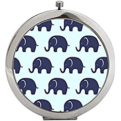 Snaptotes Trendy Boho Blue Navy Elephant Leather Compact Mirror
