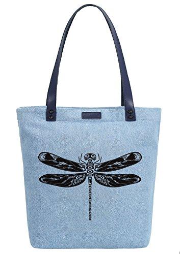 So'each Women's Dragonfly Insect Denim Dye Handbag Tote Shoulder Shopper Bag Azul