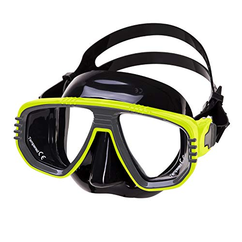 IST Corona Twin Lens Scuba Diving Snorkeling Mask (Black Silicone Yellow)