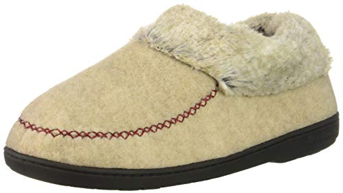 (Dearfoams Women's Felted Faux Wool Bootie Slipper, Oatmeal Heather, XL Regular US )