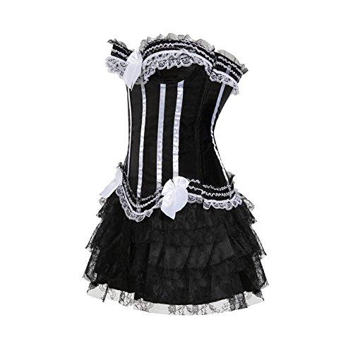 Kranchungel Damen Gothic Corsage Kleid Mini Rock Petticoat Tutu ...