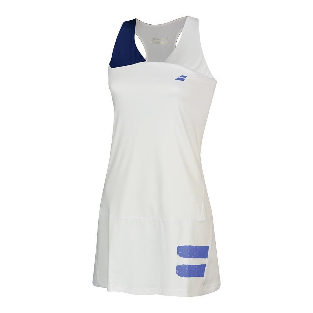 Babolat Women`s Performance Racerback Tennis Dress White Estate Blue-()