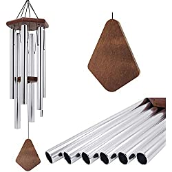 "Wind Chimes Large Outdoor,36"" Tuned Wind Chimes Amazing Grace Large with Metal Aluminum Tubes Deliver Deep Tone Melody Wooden Wind Chimes Black for Garden,Balcony,Patio and Home Decor (Silver)"