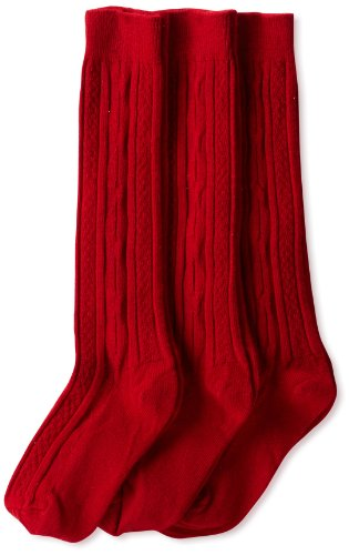 (Jefferies Socks Little Girls'  School Uniform Cable Knee High  (Pack of 3), Red, Small)