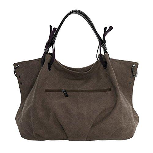 tela-Borse - TOOGOO(R)Spalla Da Donna - tela-Borse della borsa delle signore Crossbody Totes Vintage borsa (Marrone)